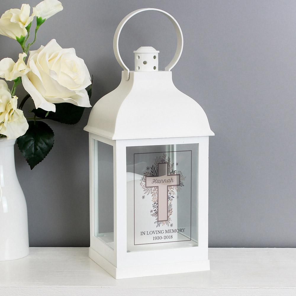 Floral Cross White Lantern