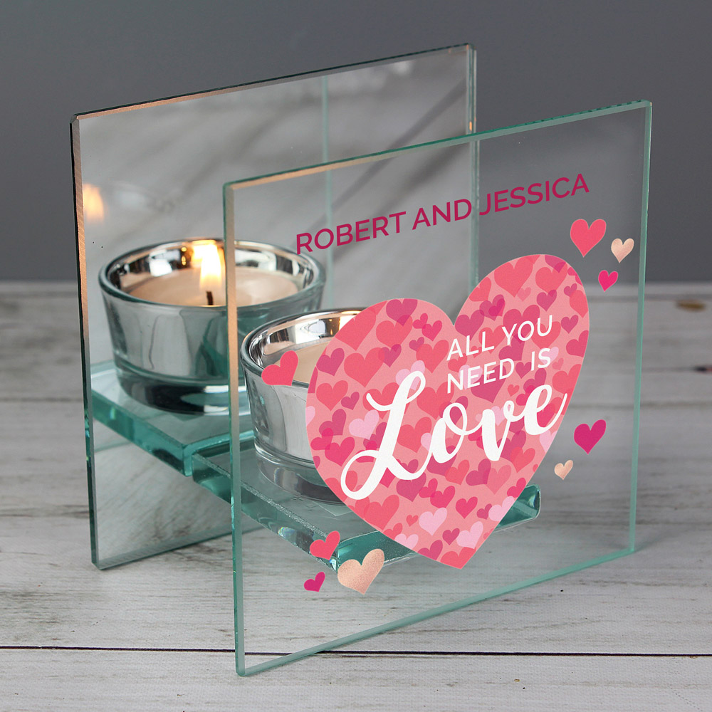 All You Need is Love' Confetti Hearts Glass Tea Light Candle Holder