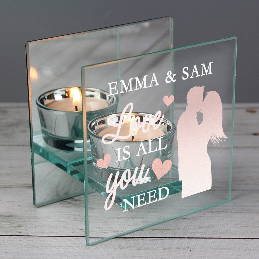 Love is All You Need' Mirrored Glass Tea Light Holder