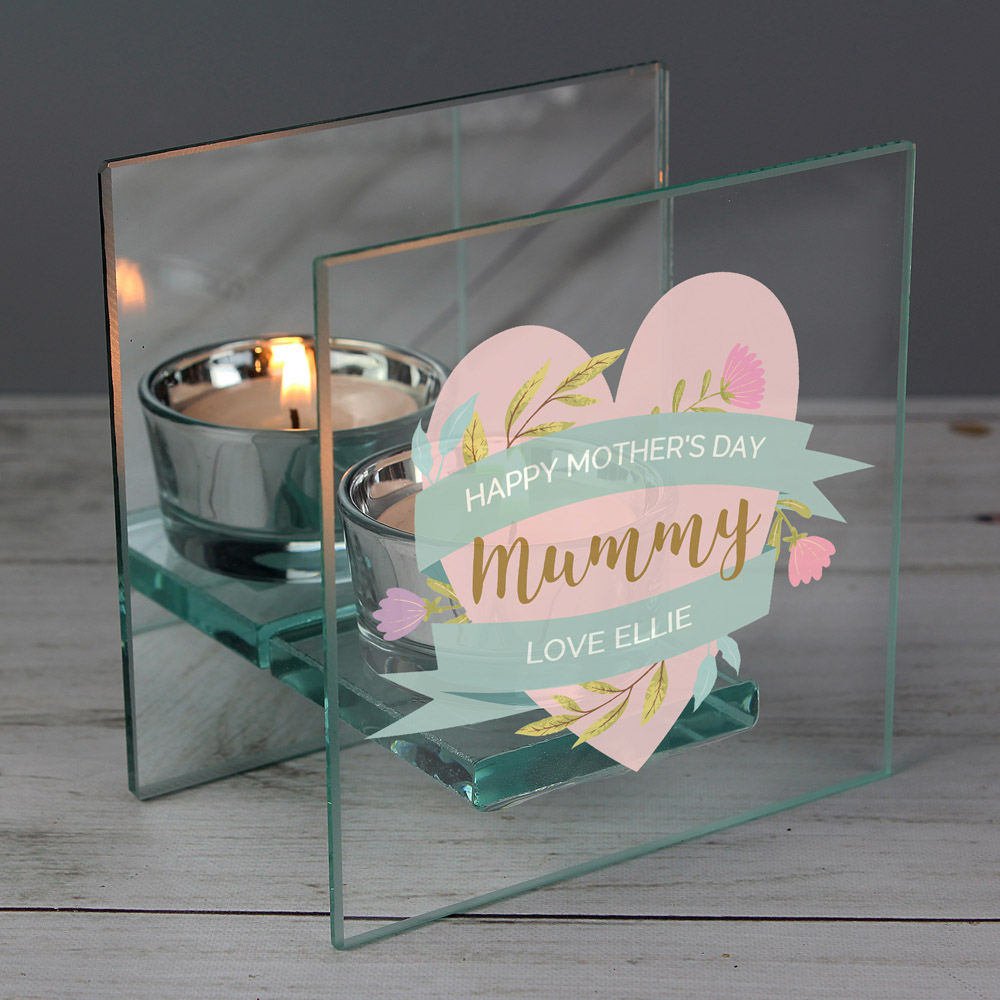 Floral Mother's Day Mirrored Glass Tea Light Holder