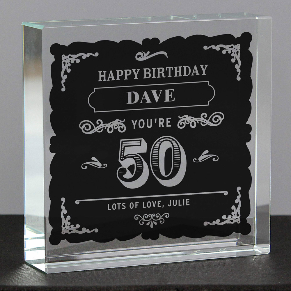 Birthday Vintage Typography Large Crystal Token