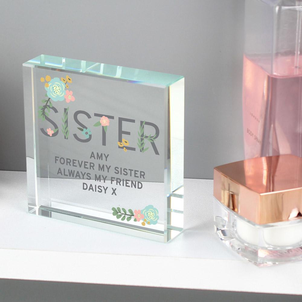 Floral Sister Large Crystal Token