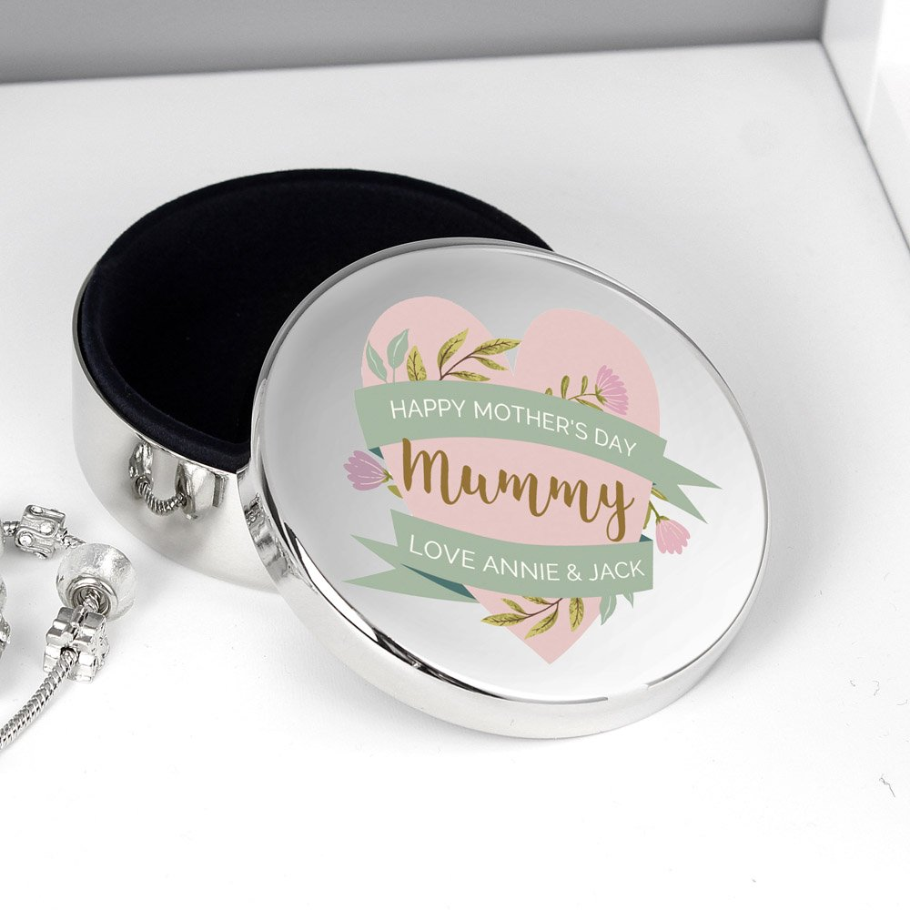 Floral Mother's Day Round Trinket Box