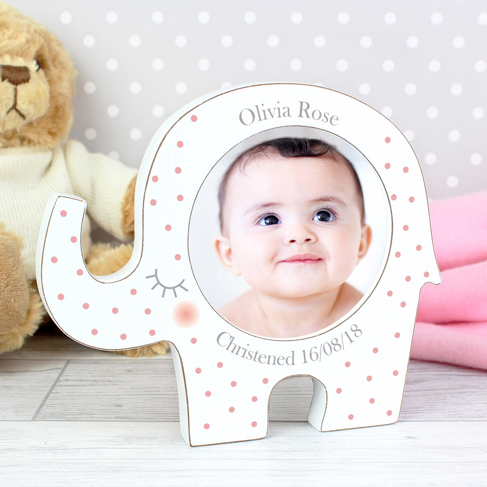 Pink Spotty Elephant Baby Photo Frame