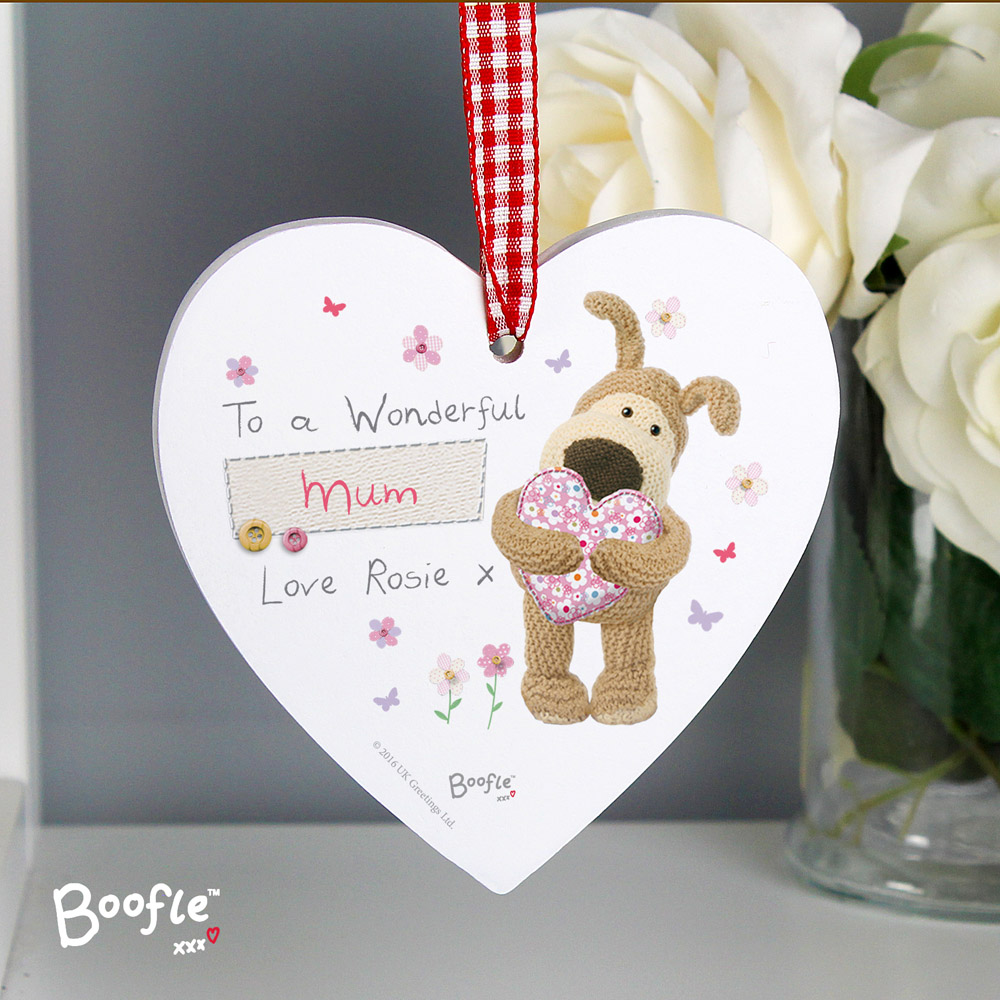 Boofle Flowers Wooden Heart Decoration