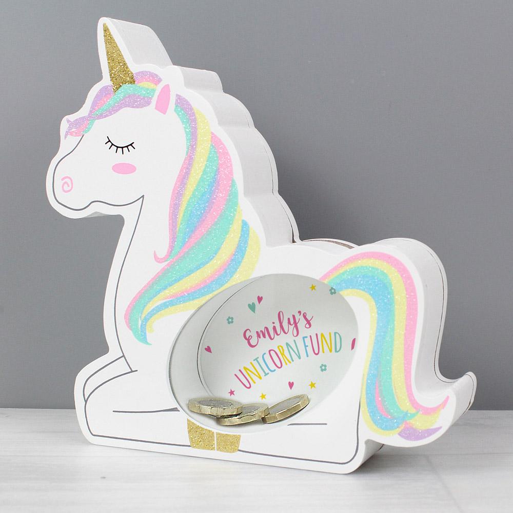 Unicorn Wooden Money Box