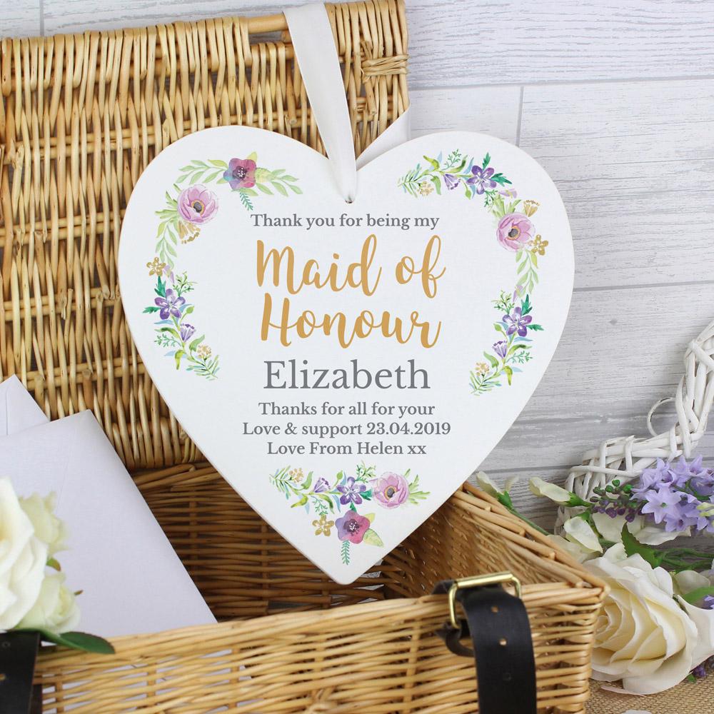 Maid of Honour 'Floral Watercolour Wedding' 22cm Large Wooden Heart Decoration