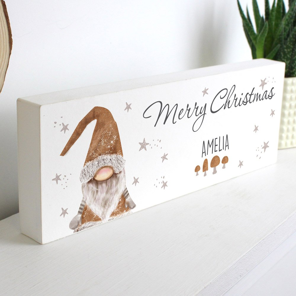 Scandinavian Christmas Gnome Wooden Block Sign