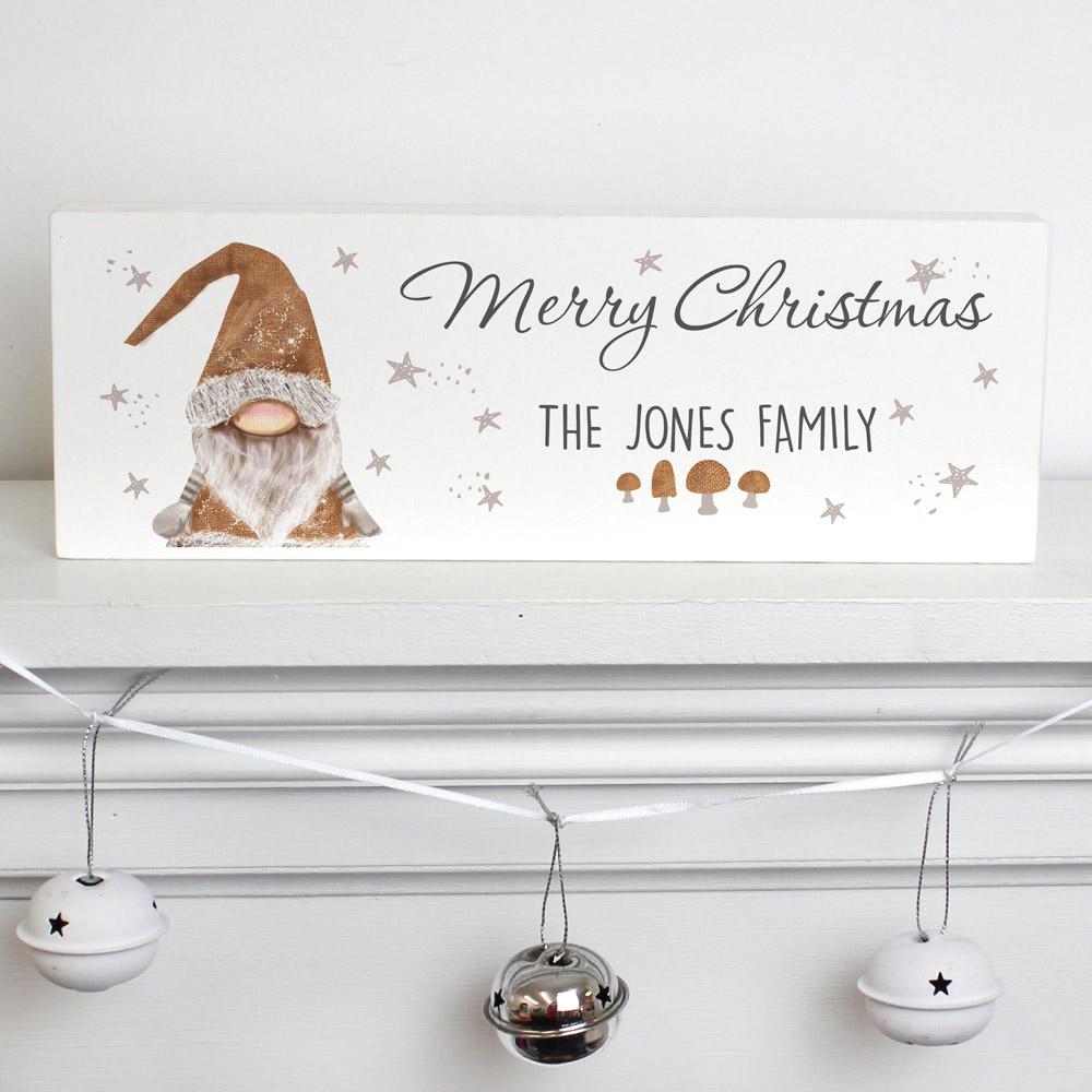 Scandinavian Christmas Gnome Wooden Block Sign