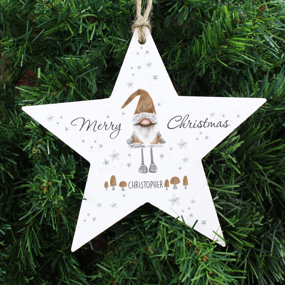 Scandinavian Christmas Gnome Wooden Star Decoration