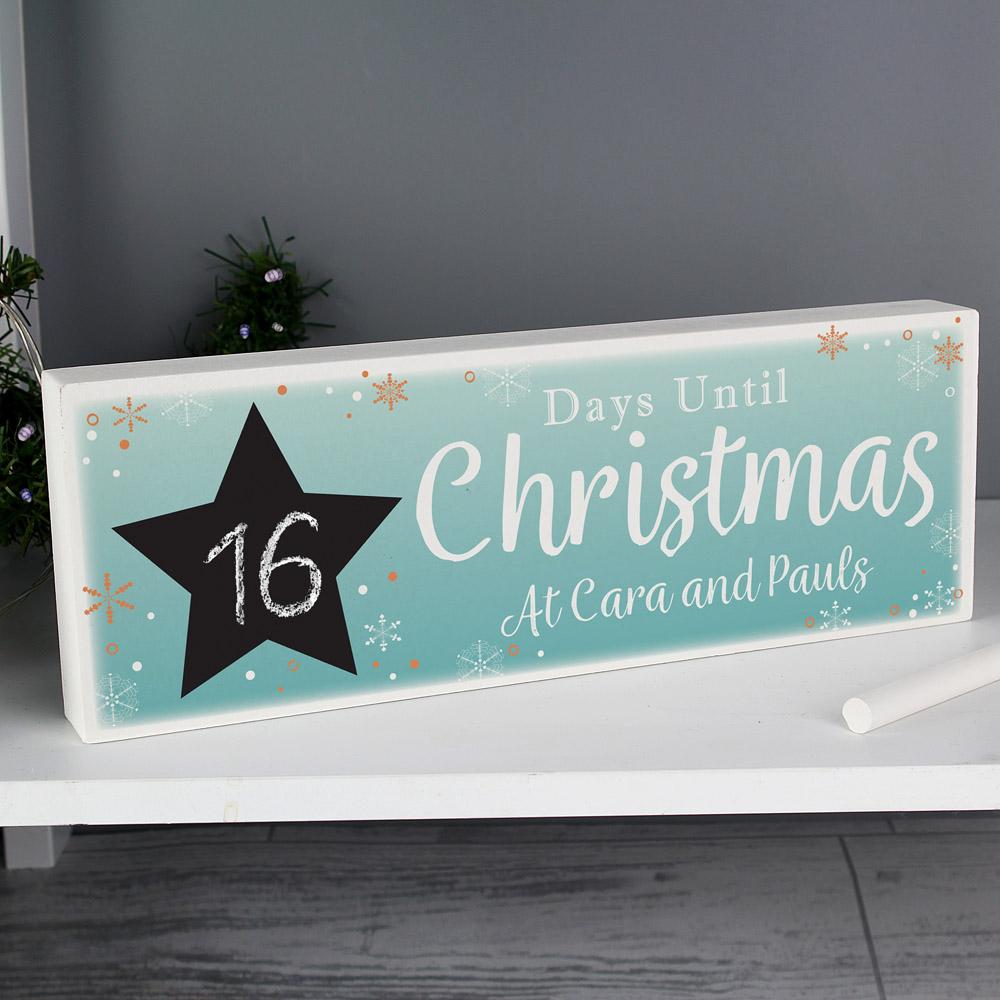 Christmas Chalk Countdown Wooden Block Sign