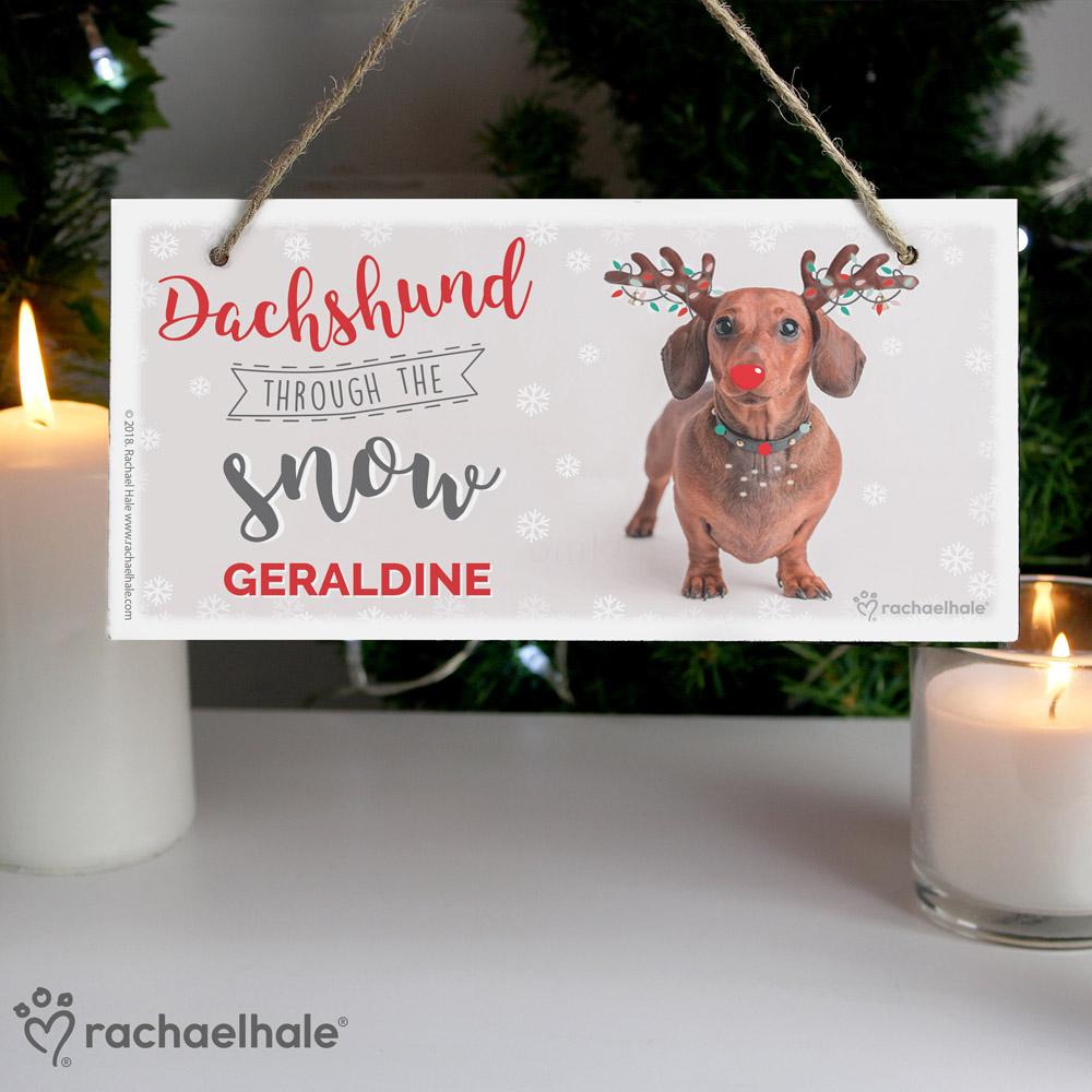 Rachael Hale Christmas Dachshund Through the Snow Wooden Sign