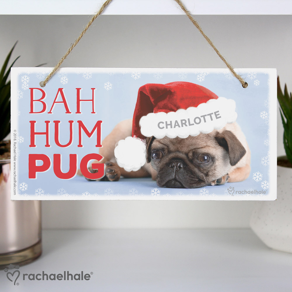 Rachael Hale Christmas Bah Hum Pug Wooden Sign
