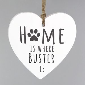 Home is Where' Pet Wooden Heart Decoration