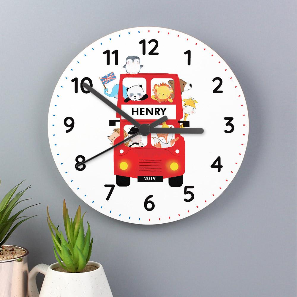 London Animal Bus Wooden Clock