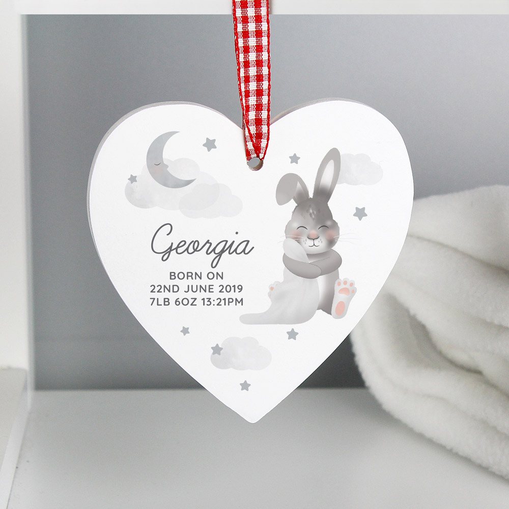 Baby Bunny Wooden Heart Decoration