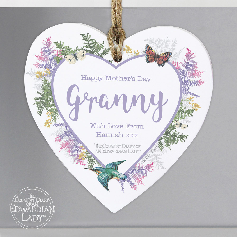Country Diary Botanical Wooden Heart Decoration
