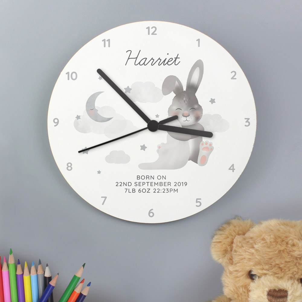 Baby Bunny White Wooden Clock