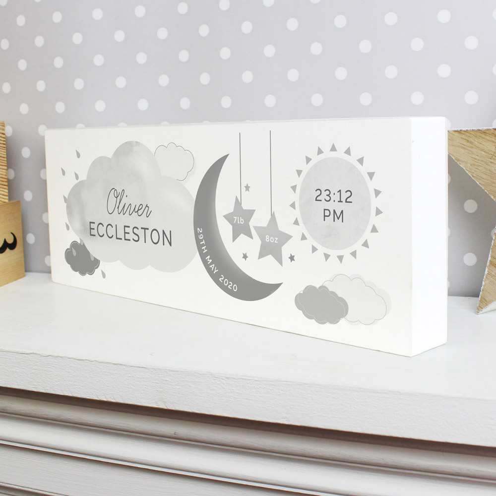 New Baby Moon & Stars Wooden Block Nursery Sign