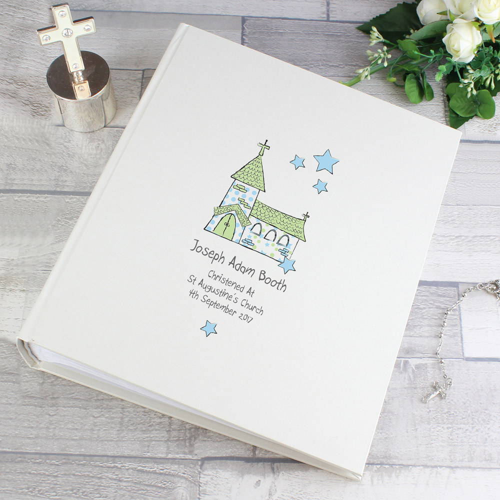 Whimsical Blue Church Album with Sleeves