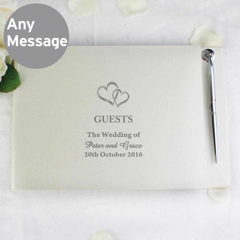 Hearts Design Hardback Guest Book & Pen