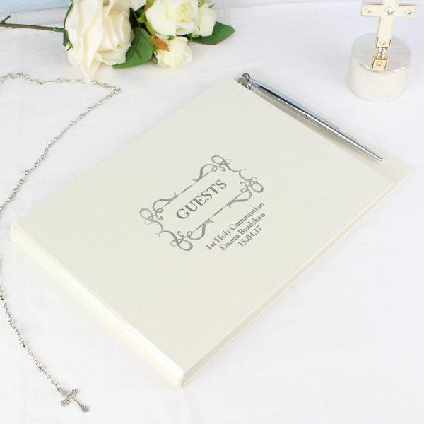 Swirl Design Hardback Guest Book & Pen