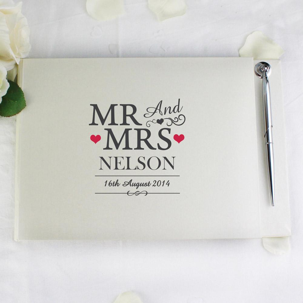 Mr & Mrs Hardback Guest Book & Pen