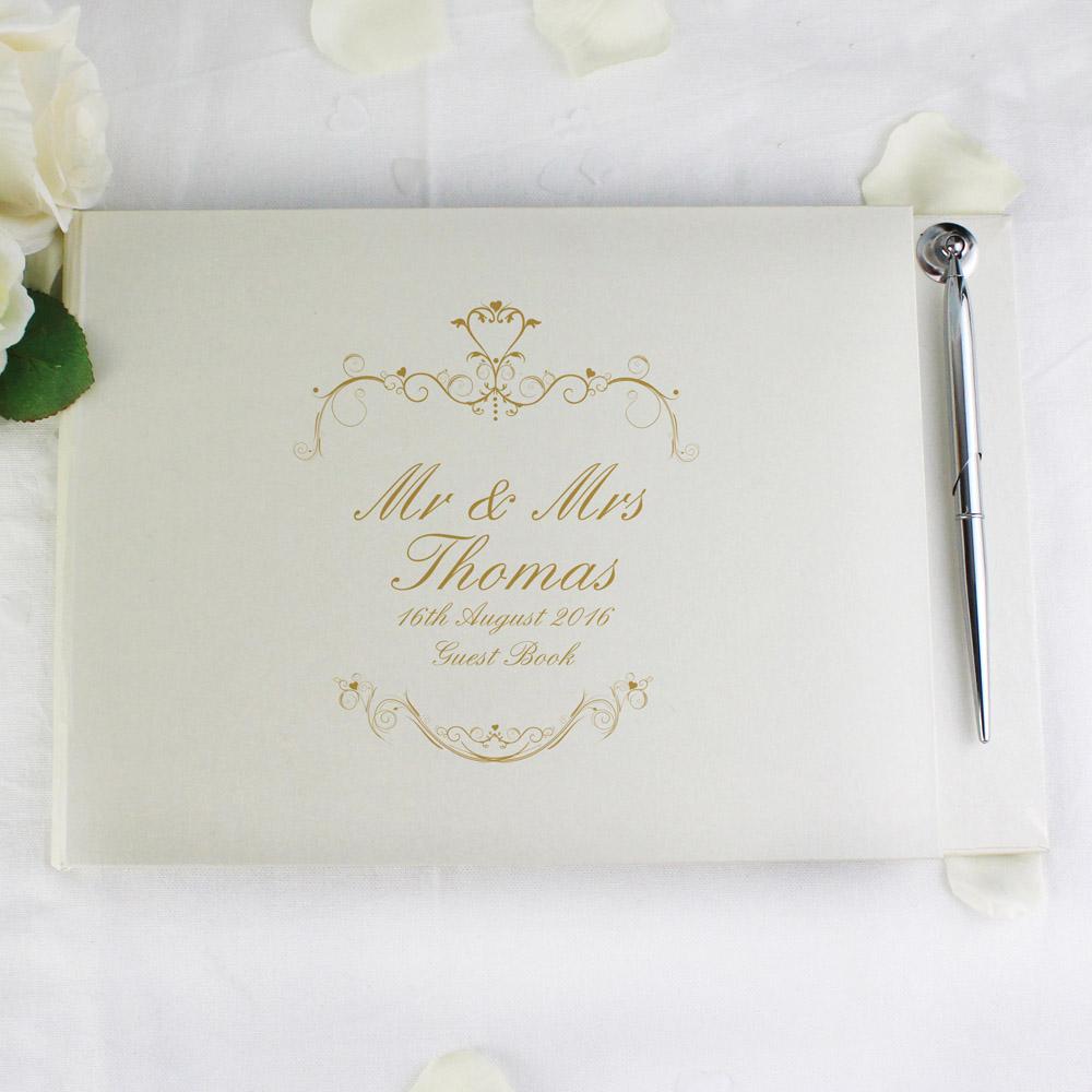 Gold Ornate Swirl Hardback Guest Book & Pen