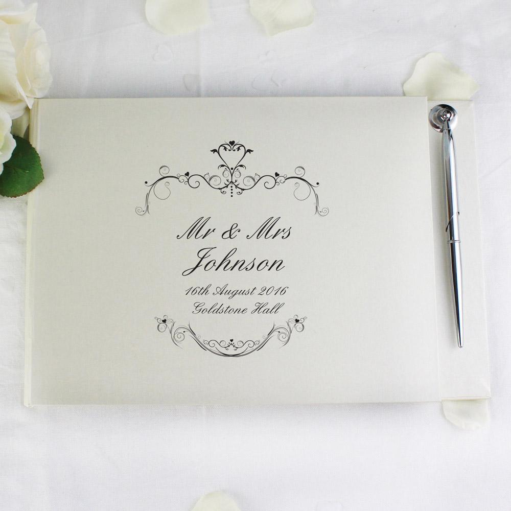 Ornate Swirl Hardback Guest Book & Pen