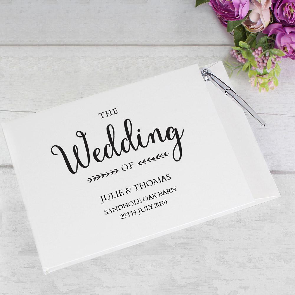 Rustic Wedding Hardback Guest Book & Pen