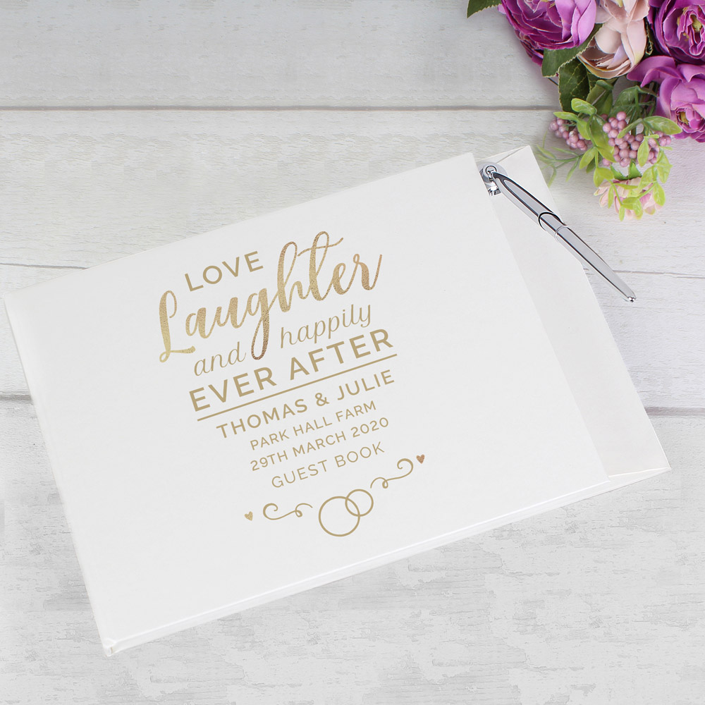 Happily Ever After Wedding Hardback Guest Book & Pen