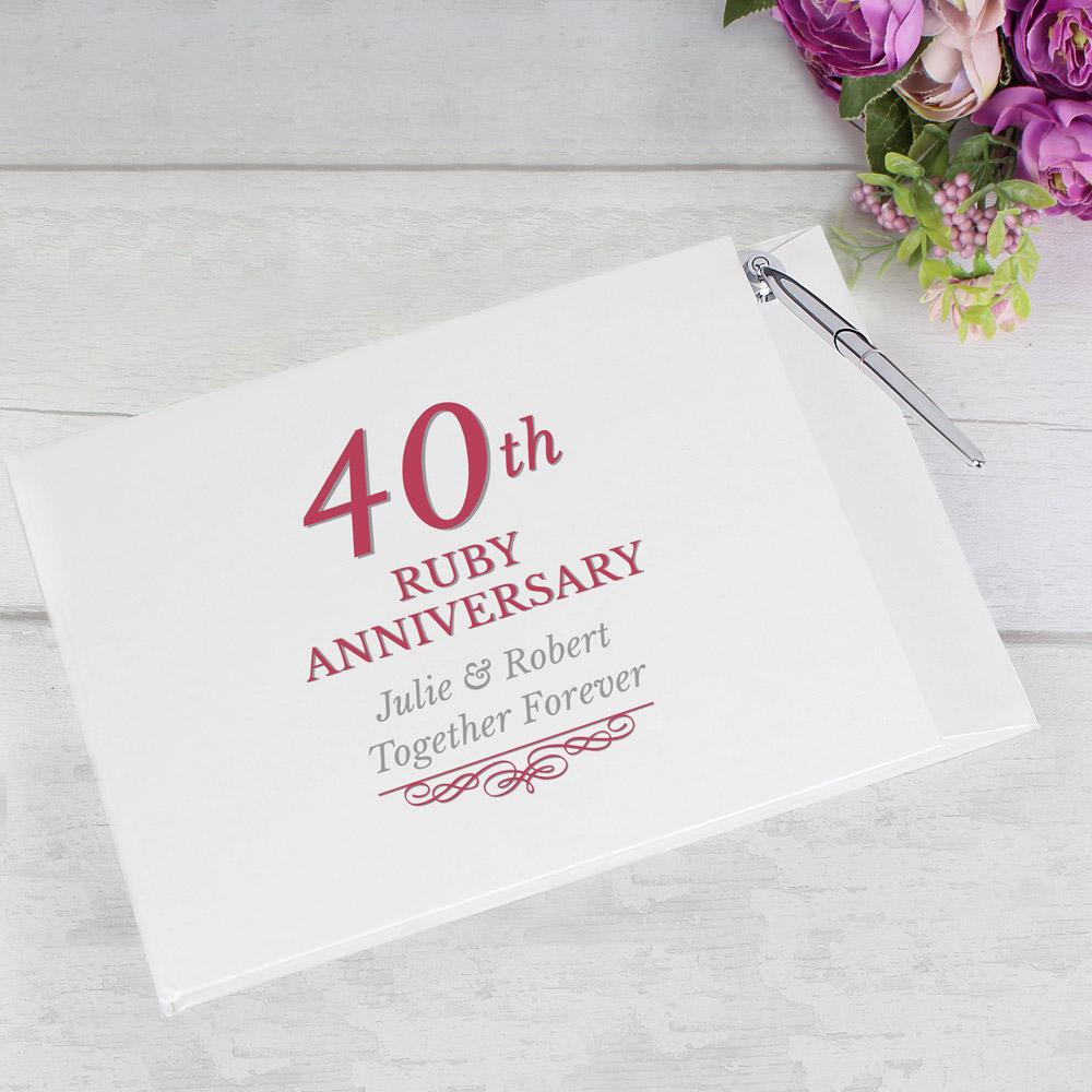 40th Ruby Anniversary Hardback Guest Book & Pen