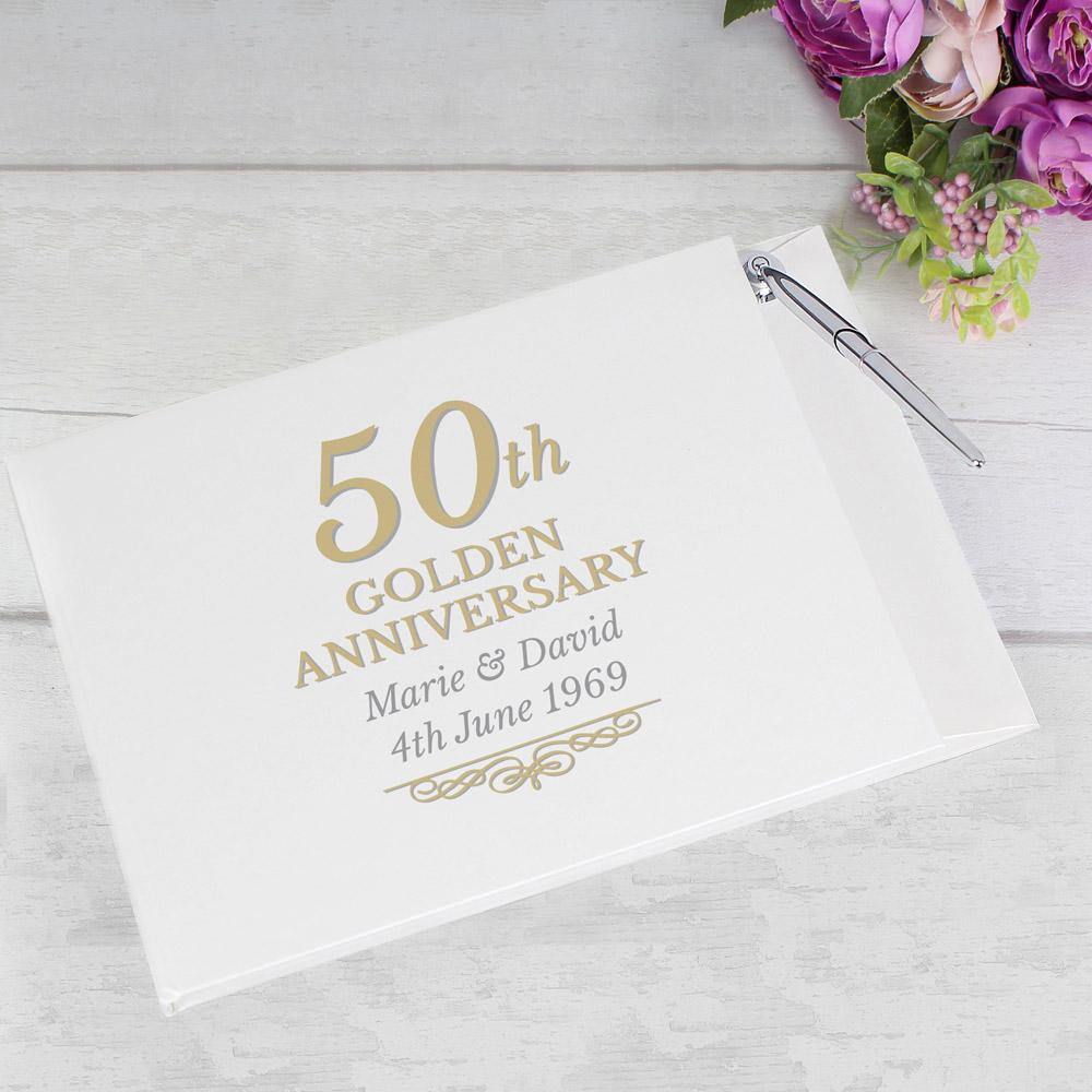 50th Golden Anniversary Hardback Guest Book & Pen