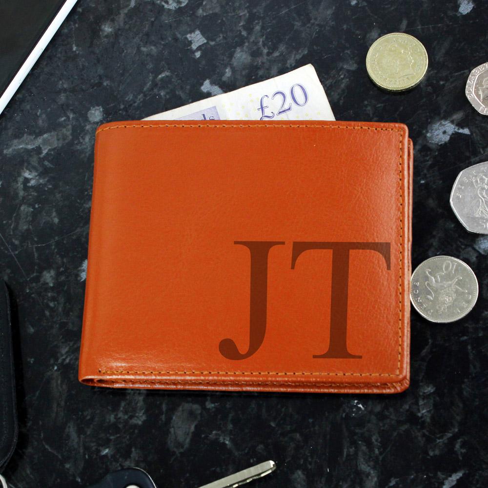 Big Initials Tan Leather Wallet