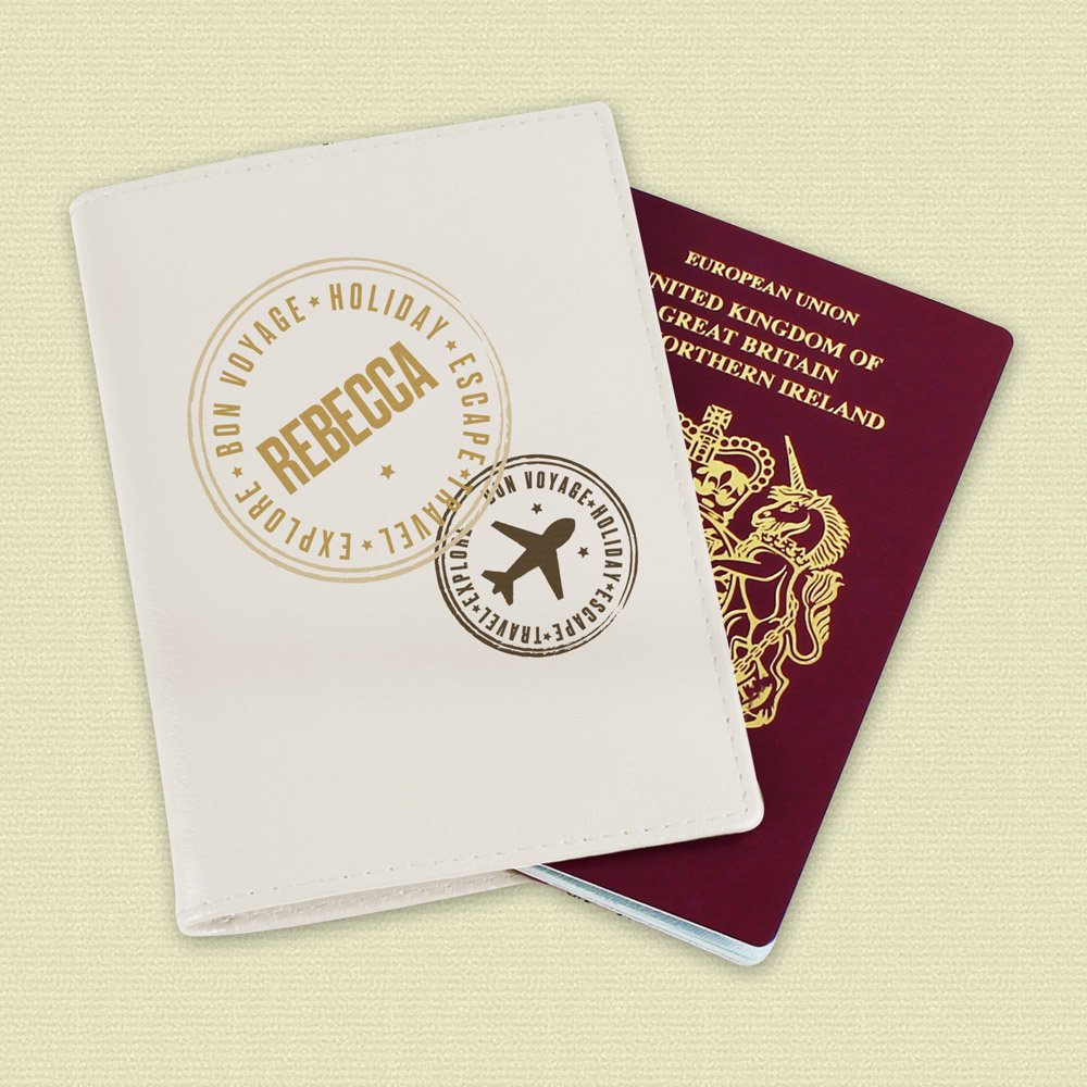 Stamped Cream Passport Holder