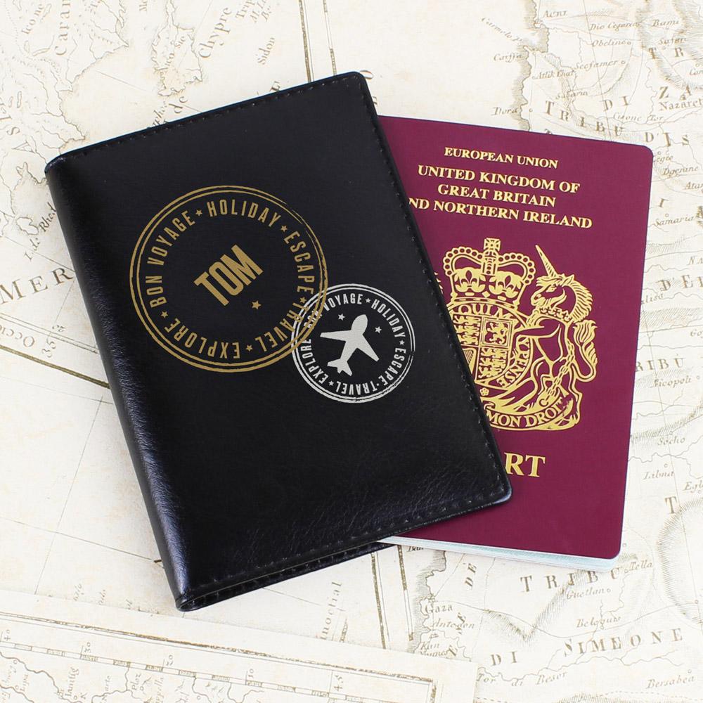 Stamped Black Passport Holder