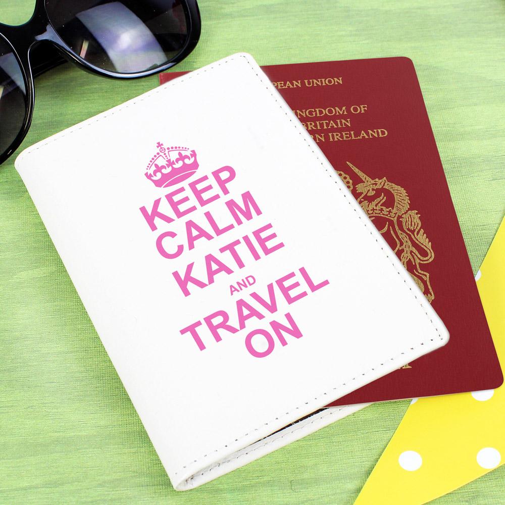 Keep Calm Cream Passport Holder