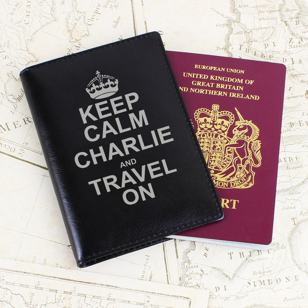 Keep Calm Black Passport Holder