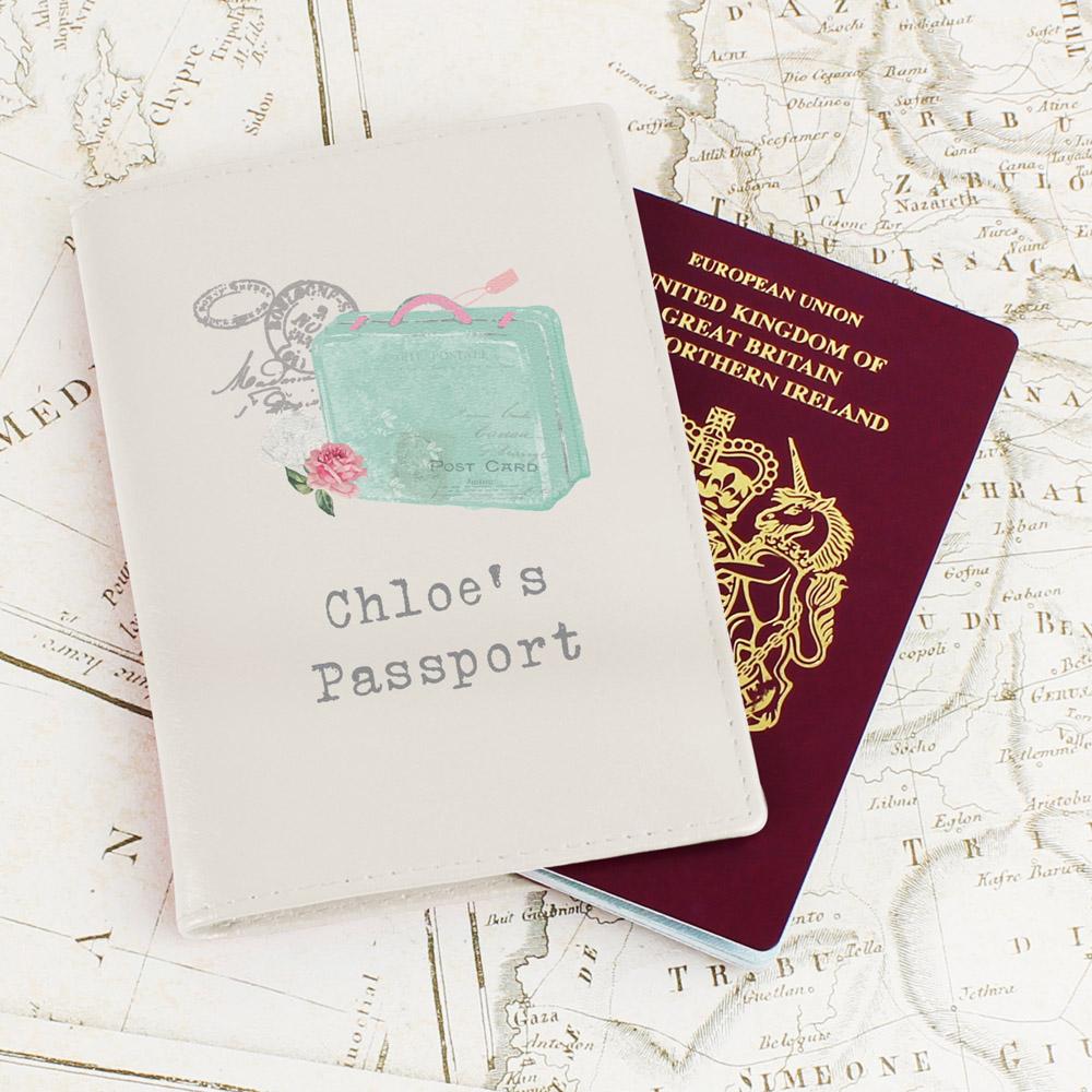 Vintage Pastel Travel Cream Passport Holder