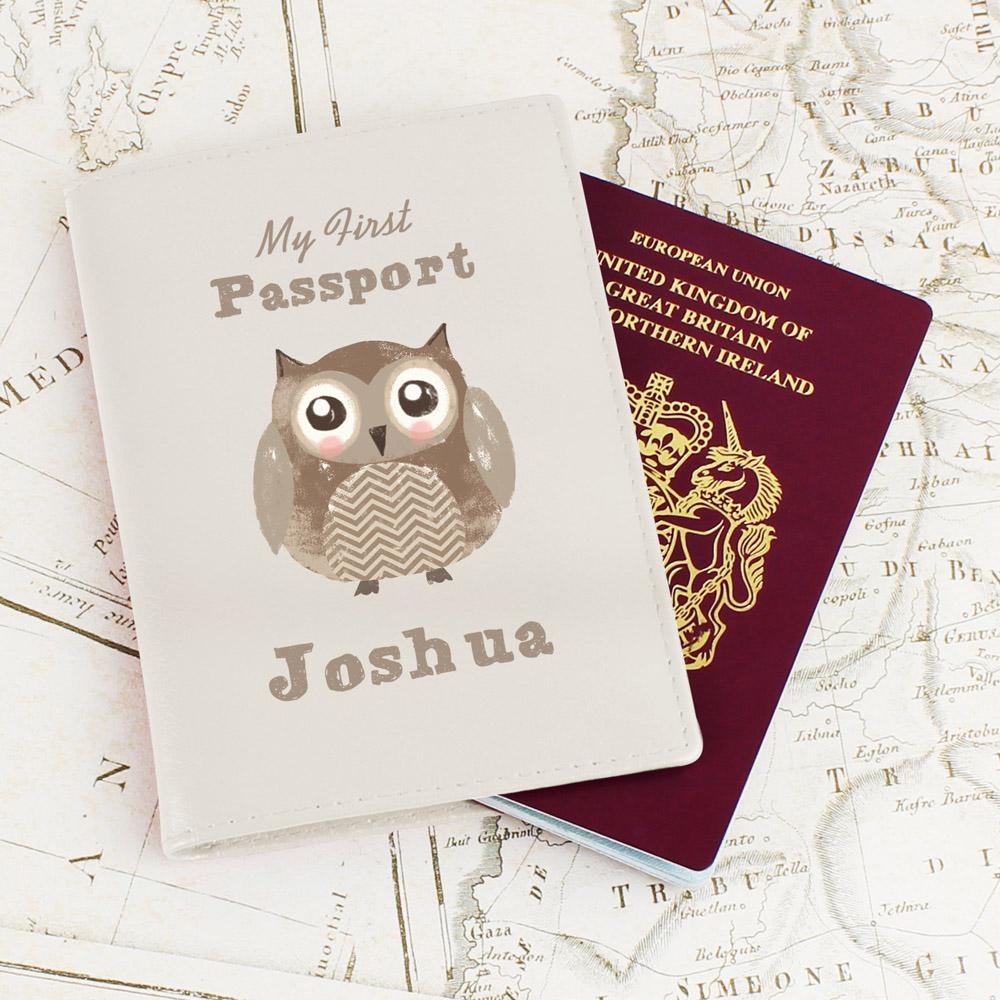 Cute Owl Cream Passport Holder
