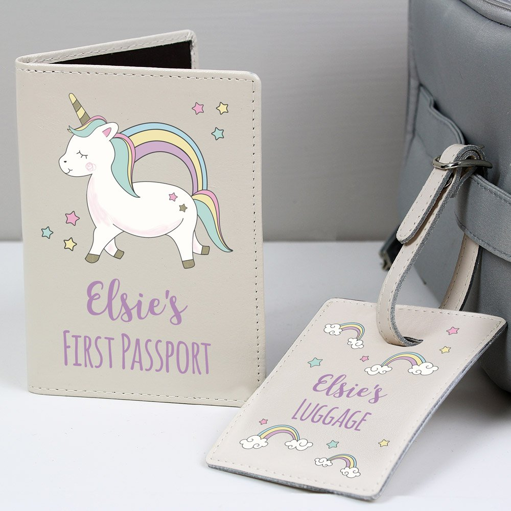 Baby Unicorn Cream Passport Holder & Luggage Tag Set