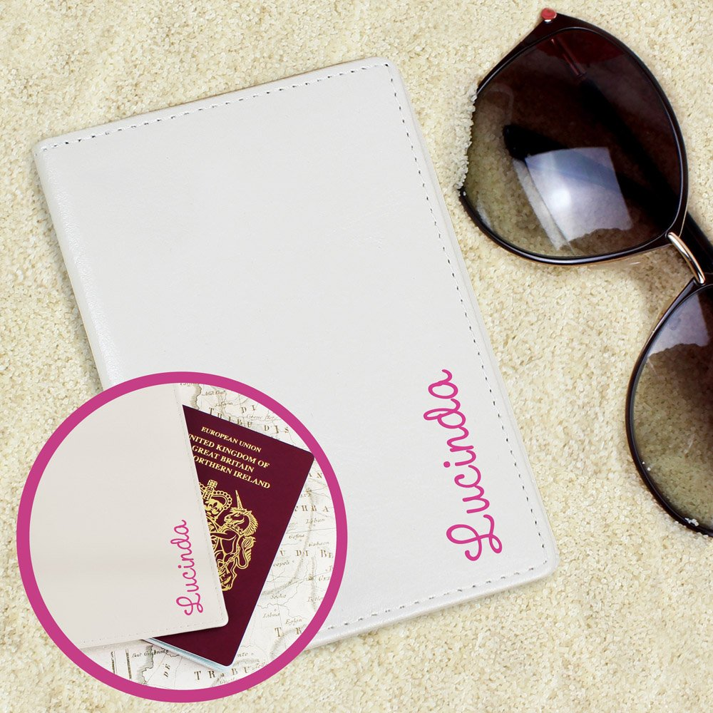 Pink Name Island Cream Passport Holder