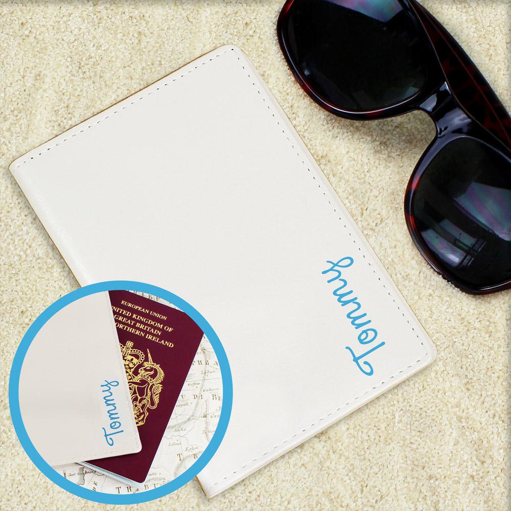 Blue Name Island Cream Passport Holder