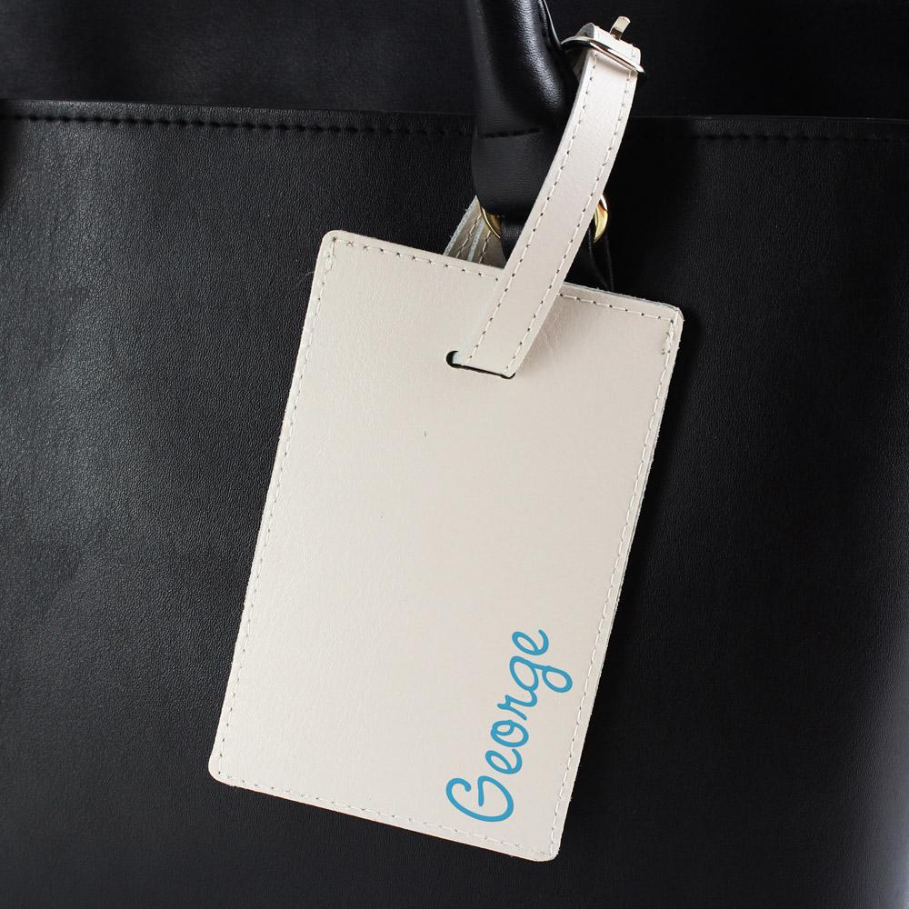 Blue Name Cream Luggage Tag