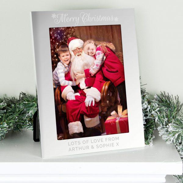 Silver 5x7 Merry Christmas Photo Frame
