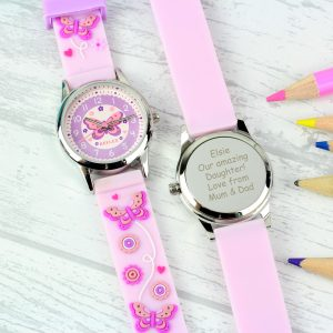 Kids Pink Time Teacher Butterfly Watch with Presentation Box