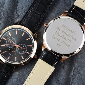Mens Rose Gold Watch with Black Strap