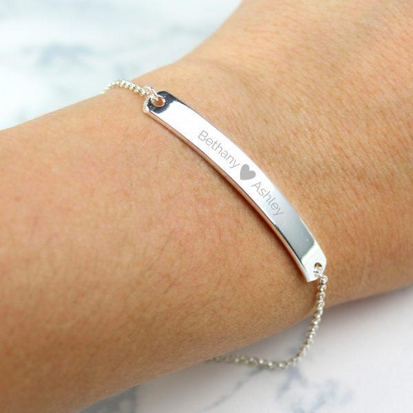 Silver Tone Heart Bar Bracelet