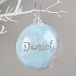 Silver Glitter Blue Feather Glass Bauble