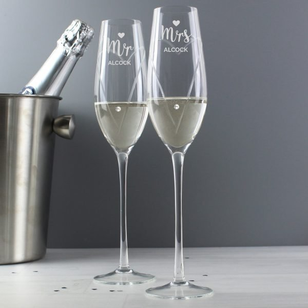 Hand Cut Mr & Mrs Pair of Flutes with Swarovski Elements in Gift Box